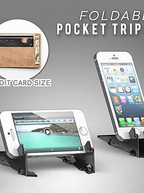 cheap Phone Mounts & Holders-FOLDABLE POCKET PHONE TRIPOD Foldable Rotation Triangle Card Type Stable Pocket Tripod Desktop Stander For Mobile Phone Holder