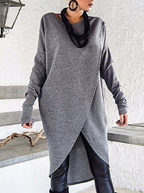 cheap More To Love-Women's Solid Colored Long Sleeve Pullover Sweater Jumper, Round Neck Light gray / Dark Gray S / M / L