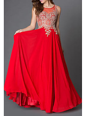 cheap Evening Dresses-A-Line Elegant Formal Evening Dress Jewel Neck Sleeveless Floor Length Chiffon with Pleats Lace Insert 2020