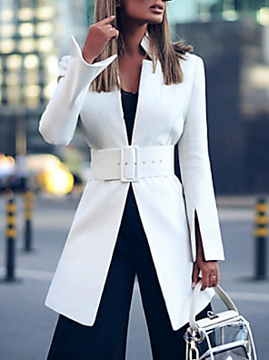 cheap Women's Coats & Trench Coats-Women's Blazer, Solid Colored Stand Polyester White