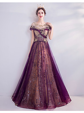 cheap Evening Dresses-A-Line Luxurious Purple Engagement Formal Evening Dress Illusion Neck Short Sleeve Floor Length Tulle with Beading Sequin Appliques 2020
