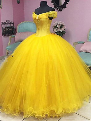 cheap Wedding Dresses-Ball Gown Luxurious Yellow Quinceanera Prom Dress Off Shoulder Short Sleeve Floor Length Tulle with Crystals 2020