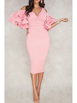 cheap Cocktail Dresses-Sheath / Column Sexy Pink Cocktail Party Formal Evening Dress V Neck Half Sleeve Tea Length Polyester with Ruffles 2020