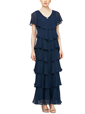 cheap Prom Dresses-Sheath / Column Mother of the Bride Dress Plus Size V Neck Ankle Length Chiffon Short Sleeve with Tier 2020 / Butterfly Sleeve