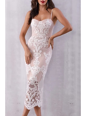 cheap Prom Dresses-Sheath / Column See Through Holiday Cocktail Party Dress Spaghetti Strap Sleeveless Tea Length Lace Satin with Lace Insert 2020