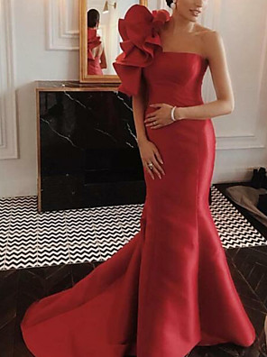 cheap Evening Dresses-Mermaid / Trumpet Floral Red Engagement Formal Evening Dress One Shoulder Sleeveless Court Train Satin with Ruffles 2020