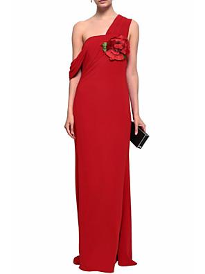 cheap Cocktail Dresses-Sheath / Column Elegant Formal Evening Dress One Shoulder Sleeveless Floor Length Chiffon with Appliques 2020