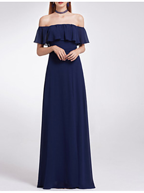 cheap Bridesmaid Dresses-A-Line Off Shoulder Floor Length Polyester Bridesmaid Dress with Draping / Open Back
