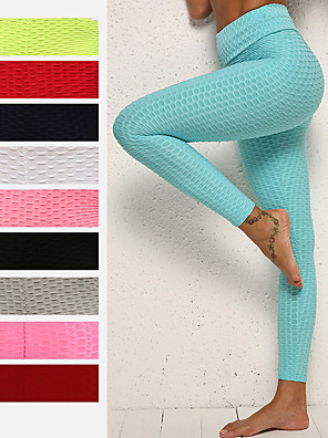 cheap Cocktail Dresses-Women's High Waist Yoga Pants Ruched Butt Lifting Jacquard Leggings White Black Purple Spandex Gym Workout Running Fitness Sports Activewear High Elasticity Skinny