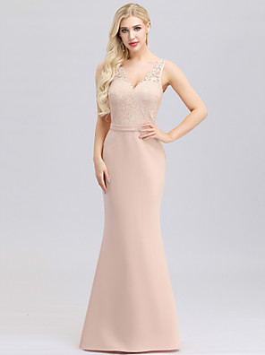 cheap Evening Dresses-Mermaid / Trumpet V Neck Maxi Polyester / Nylon / Spandex Bridesmaid Dress with Lace