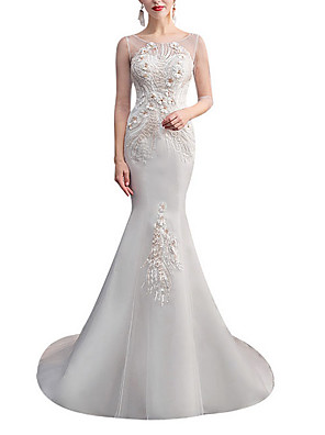 cheap Evening Dresses-Mermaid / Trumpet Wedding Dresses Jewel Neck Sweep / Brush Train Lace Tulle Half Sleeve with Crystals Appliques 2020