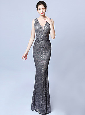cheap Evening Dresses-Mermaid / Trumpet Sparkle Grey Prom Formal Evening Dress V Neck Sleeveless Floor Length Sequined with Sequin 2020