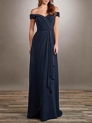 cheap Evening Dresses-A-Line Elegant Formal Evening Dress Off Shoulder Short Sleeve Floor Length Chiffon with Pleats Beading 2020