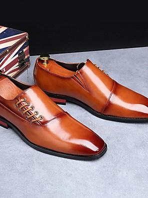 cheap Shirts-Men's Dress Shoes Fall Business / Classic Office & Career Oxfords PU Wear Proof Yellow / Burgundy / Black