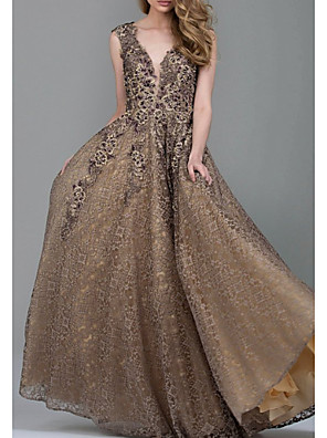cheap Evening Dresses-A-Line Elegant Formal Evening Dress Plunging Neck Sleeveless Floor Length Lace with Appliques 2020