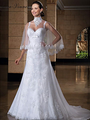 cheap Prom Dresses-Mermaid / Trumpet Wedding Dresses Jewel Neck Court Train Lace Tulle Regular Straps Sexy with Appliques 2020 / Yes