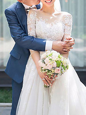 cheap Prom Dresses-A-Line Wedding Dresses Off Shoulder Sweep / Brush Train Lace 3/4 Length Sleeve Country Romantic See-Through Illusion Detail with Beading Draping Lace Insert 2020
