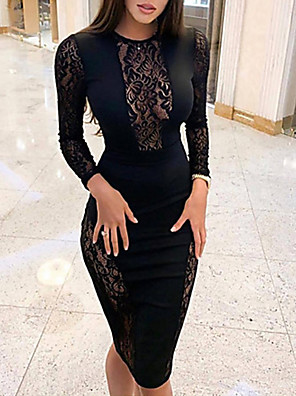 cheap Women's Dresses-Women's Sheath Dress - Long Sleeve Solid Colored Lace Sexy Cocktail Party New Year Going out Black S M L XL