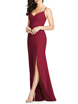 cheap Mother of the Bride Dresses-Sheath / Column Spaghetti Strap Floor Length Jersey Bridesmaid Dress with Split Front