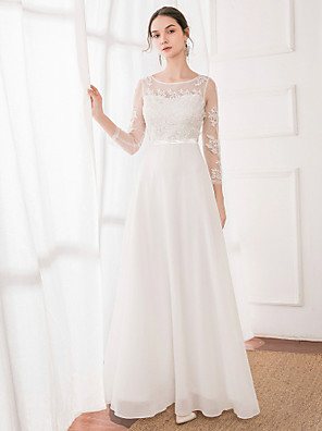 cheap Wedding Dresses-A-Line Jewel Neck Floor Length Polyester / Lace / Satin Long Sleeve Illusion Sleeve Made-To-Measure Wedding Dresses with Lace 2020