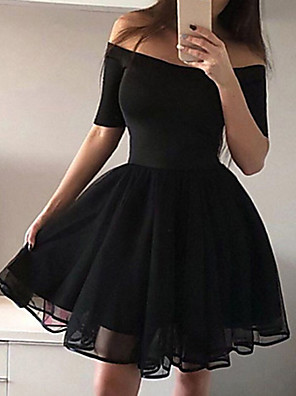 cheap Romantic Lace Dresses-Women's A Line Dress - Short Sleeve Solid Colored Pleated Mesh Off Shoulder Sexy Cocktail Party Going out Birthday Black S M L XL