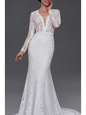 cheap Wedding Dresses-Mermaid / Trumpet Wedding Dresses V Neck Court Train Lace Long Sleeve Illusion Sleeve with Buttons Appliques 2020