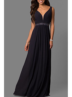 cheap Prom Dresses-A-Line Elegant Formal Evening Dress Plunging Neck Sleeveless Sweep / Brush Train Chiffon with Pleats Beading 2020