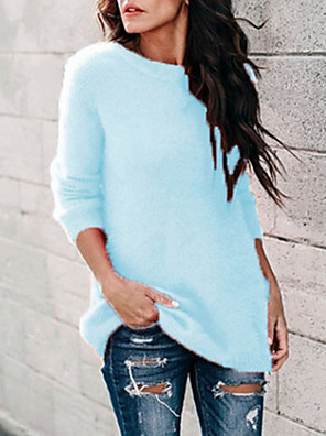 cheap Women's Sweaters-Women's Solid Colored Long Sleeve Pullover Sweater Jumper, Round Neck Blushing Pink / Blue / Gray S / M / L