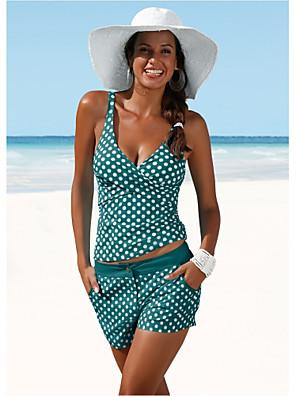 cheap Tankinis-Women's Black White Navy Blue Bikini Swimwear Swimsuit - Polka Dot S M L Black