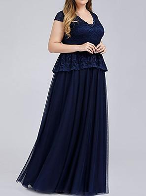 cheap Bridesmaid Dresses-A-Line V Neck Maxi Lace Bridesmaid Dress with Lace