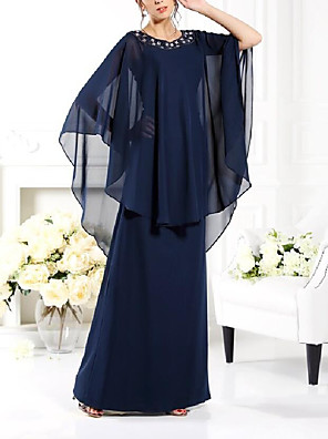 cheap Mother of the Bride Dresses-A-Line Mother of the Bride Dress Elegant & Luxurious Jewel Neck Floor Length Chiffon Half Sleeve with Beading 2020
