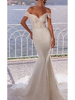 cheap Wedding Dresses-Mermaid / Trumpet Wedding Dresses Off Shoulder Court Train Lace Short Sleeve with Lace Insert Embroidery 2020