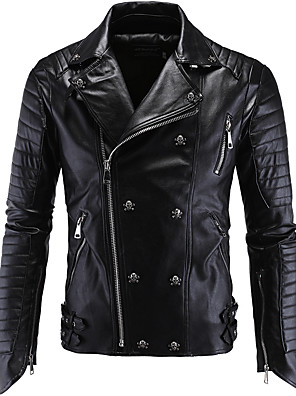 cheap Evening Dresses-Danny Zuko 1950s Steampunk Winter Jacket Men's Leather Costume Black Vintage Cosplay Party Halloween Long Sleeve / Coat