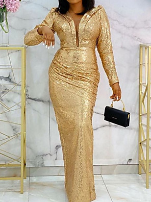 cheap Evening Dresses-Sheath / Column Elegant Formal Evening Dress Plunging Neck Long Sleeve Floor Length Stretch Satin with Sequin 2020