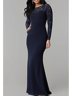 cheap Swimwear & Bikinis-Sheath / Column Elegant Formal Evening Dress Jewel Neck Long Sleeve Floor Length Lace Spandex with Lace Insert 2020