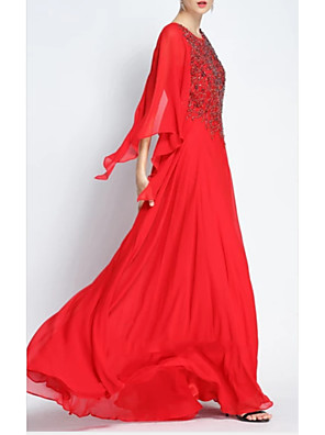 cheap Evening Dresses-A-Line Elegant Formal Evening Dress Jewel Neck 3/4 Length Sleeve Floor Length Chiffon with Pleats Beading 2020