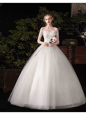cheap Wedding Dresses-Ball Gown Wedding Dresses Bateau Neck Floor Length Satin Tulle 3/4 Length Sleeve Illusion Sleeve with Beading Appliques 2020