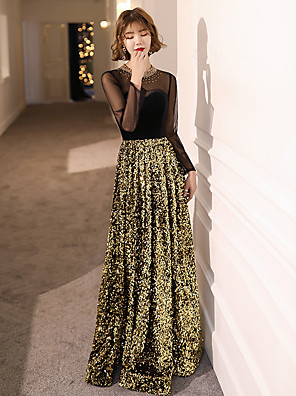 cheap Evening Dresses-A-Line Elegant Sparkle & Shine Formal Evening Dress Jewel Neck Long Sleeve Floor Length Sequined Velvet with Beading Sequin 2020
