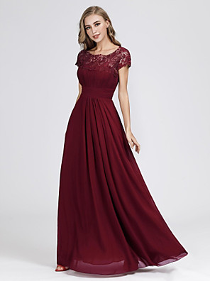 cheap Evening Dresses-A-Line Elegant & Luxurious Formal Evening Dress Jewel Neck Short Sleeve Floor Length Chiffon Lace with Lace Insert 2020