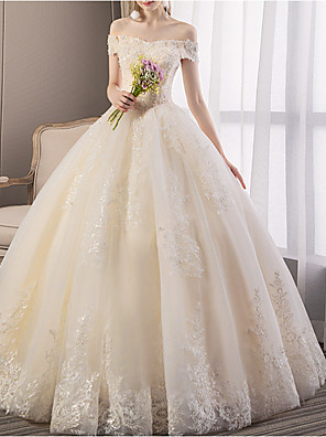 cheap Wedding Dresses-A-Line Wedding Dresses Off Shoulder Floor Length Tulle Regular Straps Glamorous Illusion Detail with Beading Appliques 2020