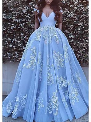cheap Evening Dresses-Ball Gown Floral Luxurious Quinceanera Formal Evening Dress Off Shoulder Short Sleeve Chapel Train Tulle with Pleats Appliques 2020