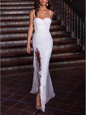 cheap Evening Dresses-A-Line Elegant Furcal Formal Evening Dress Spaghetti Strap Sleeveless Floor Length Lace with Pleats Split Front 2020