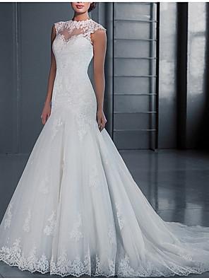 cheap Evening Dresses-Mermaid / Trumpet Wedding Dresses Jewel Neck Court Train Lace Regular Straps with 2020