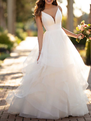 cheap Wedding Dresses-Ball Gown Wedding Dresses V Neck Court Train Tulle Charmeuse Spaghetti Strap Formal Simple Little White Dress with Appliques Cascading Ruffles 2020