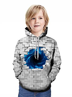 cheap Boys' Tops-Kids Boys' Active Streetwear Geometric Patchwork Print Long Sleeve Hoodie & Sweatshirt Rainbow