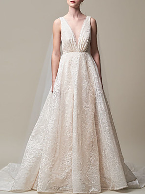 cheap Wedding Dresses-A-Line Wedding Dresses V Neck Court Train Lace Tulle Regular Straps with 2020