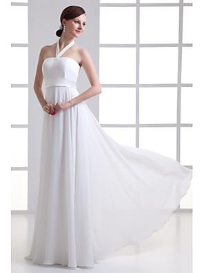cheap Evening Dresses-A-Line Wedding Dresses Halter Neck Floor Length Chiffon Satin Strapless with Beading Draping 2020