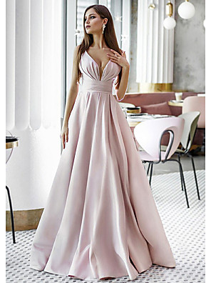 cheap Evening Dresses-A-Line Elegant Pink Engagement Formal Evening Dress V Neck Sleeveless Sweep / Brush Train Satin with Pleats 2020