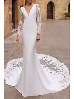 cheap Bridesmaid Dresses-Mermaid / Trumpet Wedding Dresses V Neck Court Train Lace Stretch Satin Long Sleeve Illusion Sleeve with Embroidery 2020