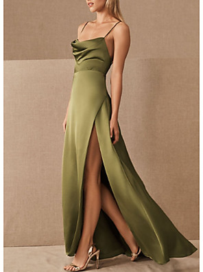 cheap Prom Dresses-A-Line Spaghetti Strap Floor Length Satin Bridesmaid Dress with Split Front / Ruching / Open Back